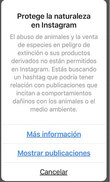 Aviso de Instagram